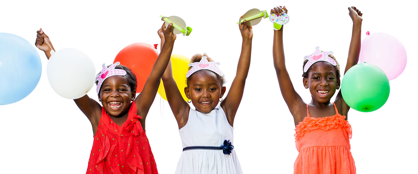 36273686 - close up portrait of cheerful threesome african youngsters holding colorful balloons.isolated against white background.